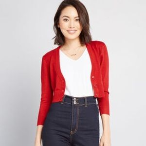ModCloth Dream of the Crop Red Cropped Cardigan